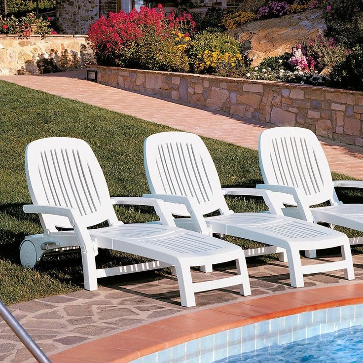 Recliner Lounger Chair White Plastic Resin Waterproof Outdoor Garden Furniture