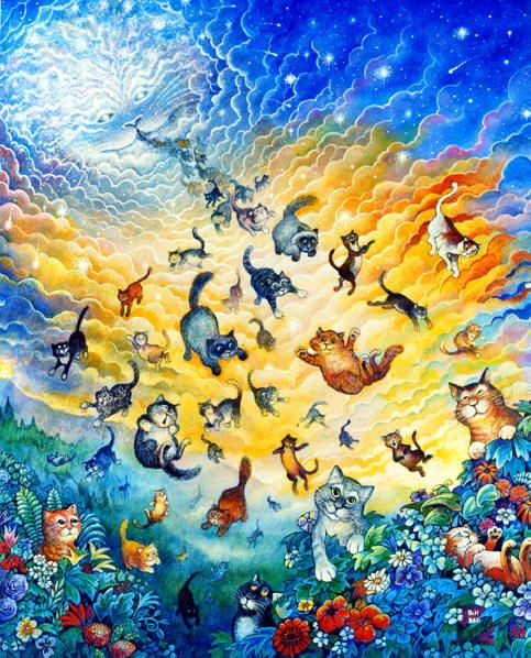 Many cats painting. Creation of Cats - Bill Bell