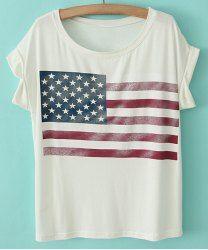Star Print Stripe Short Sleeve Casual Style Scoop Neck Cotton Women's T-shirt