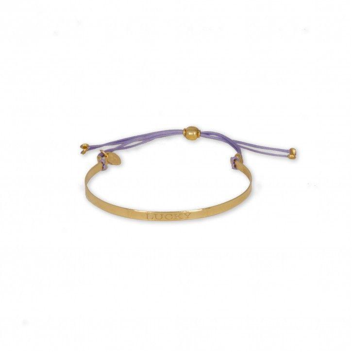 Super Stylish   Bracelet   Lucky Gold *** Simpel maar toch chic armbandje van Super Stylish. De juiste pasvorm is simpel te verstellen middels het katoenen koord. Leuk te combineren met de andere bangles van Super Stylish.