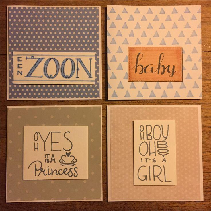 Babykaarten Handlettering op craftbook papier