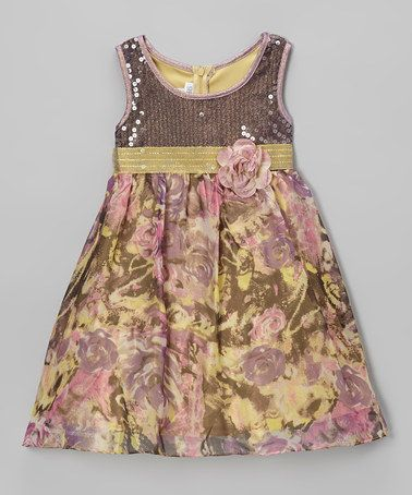 Take a look at this Purple Floral Sequin Dress - Girls by Gerson & Gerson on #zulily today!