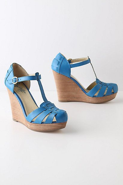 these are too tall for me, but i love the blue. #anthropologieBlue Wedges, Fabriella Tstrap, Summer Shoes, Blue Shoes, Sandals, Fabriella T Straps, Tstrap Wedges, Dolls Shoes, Spring Style