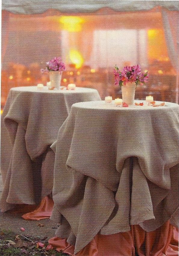 Appetizer Tables, but will have ivory 'to the floor' tablecloth underneath & pintuck burlap as overlay...opposite of all 'seating' tables.