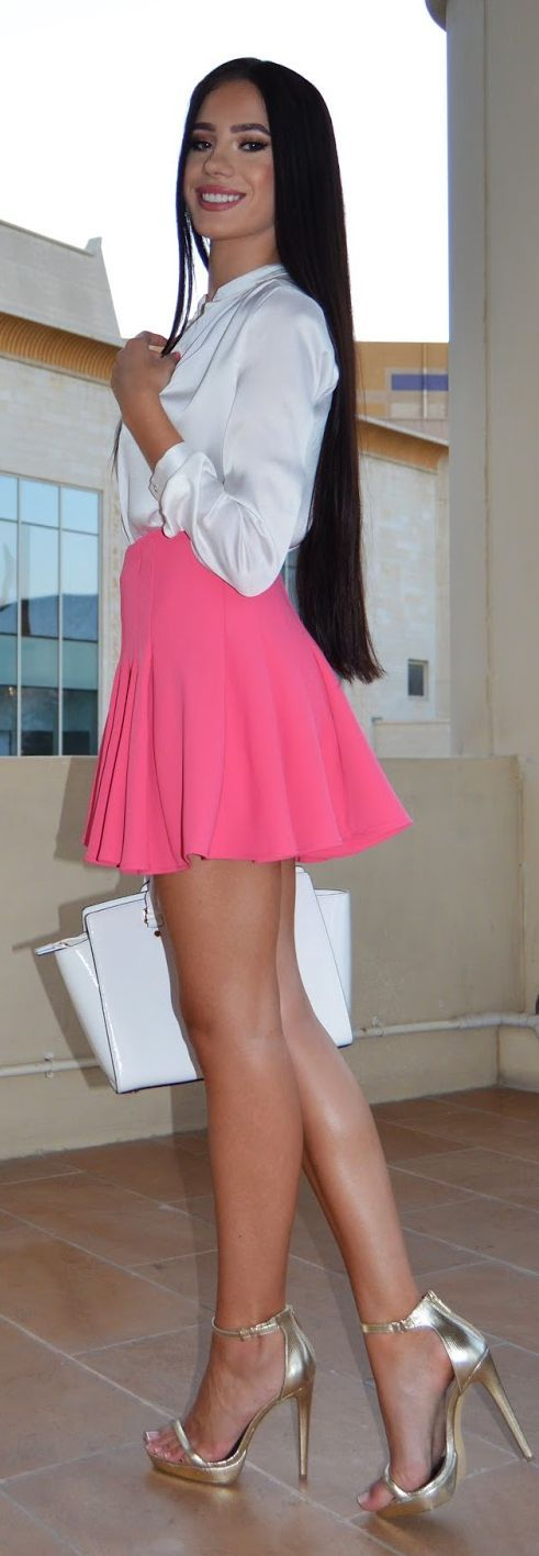Short skirt metallic ankle strap high heels and great legs | Stylish Legs and High Heels ...