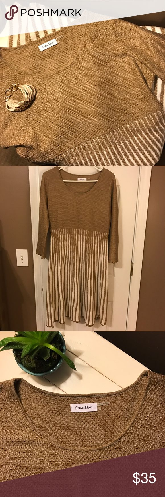 Calvin Klein Tan & Ivory Knit Dress- NWOT NWOT tan knit dress with long sleeves, fitted bodice and pleated skirt with ivory details. Calvin Klein Dresses