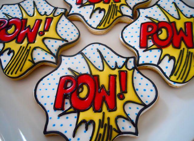 Tutorial: Cookie POW-ER! - make super hero comic book type cookies for a superhero party