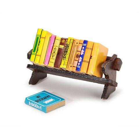 Miniature Bookshelf Dollhouse Furniture Removable Books 1/12 or 1/6 Dollhouse Supply EmbellishmentButtons