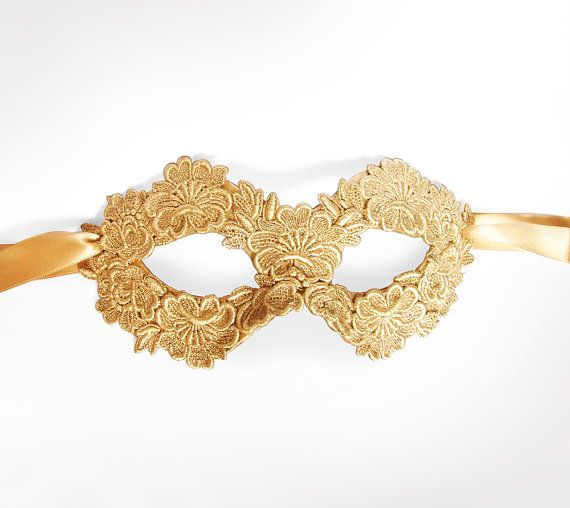Gold Embroidery Masquerade Mask -  Lace Applique Covered Venetian Mask