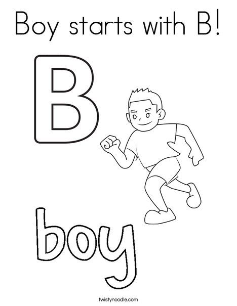 boy starts with b coloring page twisty noodle noodlemini booksstart