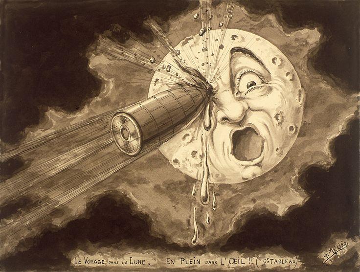 « Le Voyage dans la Lune. En plein dans l'œil !! (9ème tableau) ». - Georges Méliès - © ADAGP, Paris 2008.