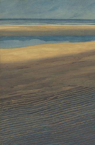 Spilliaert La plage à marée basse (1909) Encre de Chine, gouache, aquarelle et crayons de couleur su papier (74 x 51)