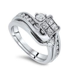 1.08cts Diamond Engagement Ring Set
