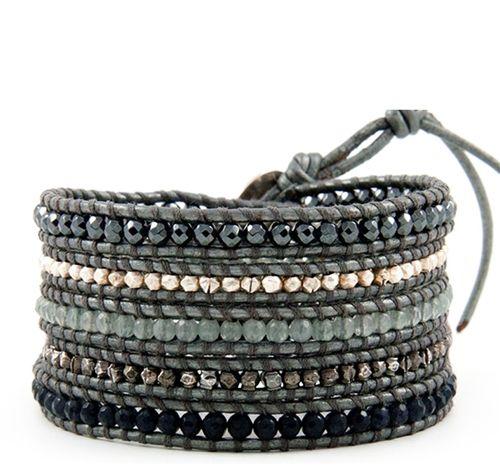 CHAN LUU Special Vetiver Mix Wrap Bracelet on Grey Greek Leather $215