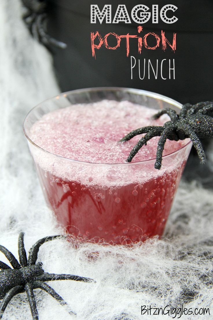 a magical punch that fizzes and bubbles when you add the secret ingredient tastes delicious - Great Halloween Drinks
