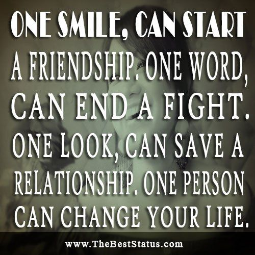 Ending Friendship Quotes | one smile, can Start a friendship, One Word Can End a Fight. One Look ...