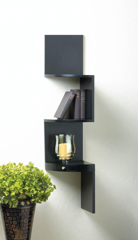 3-Tier Black Corner Shelf With Drawer