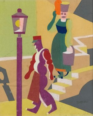 Fortunato Depero, FIGURE DI CAPRI SIGNED, COLLAGE OF COLOURED PAPERS. EXECUTED IN 1916