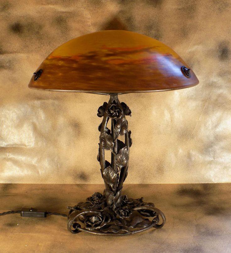 muller freres grande lampe art deco fer forge pate de verre in art antiquit s meubles. Black Bedroom Furniture Sets. Home Design Ideas