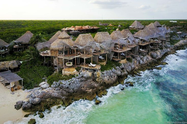Discover paradise on earth. Azulik is an eco resort and Mayan spa in Tulum, Mexico. This unique hotel is built completely above ground like a bird's nest.
