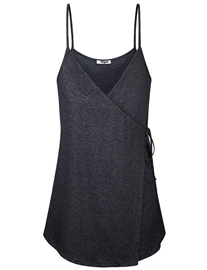 27f951c23a5 Hibelle Tank Tops for Women Ladies Black Sleeveless Shirts V Neck Spaghetti  Strap Loose Fit Cami