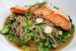Sesame Crusted Trout Fillets with Spring Vegetables in Miso Soba ...