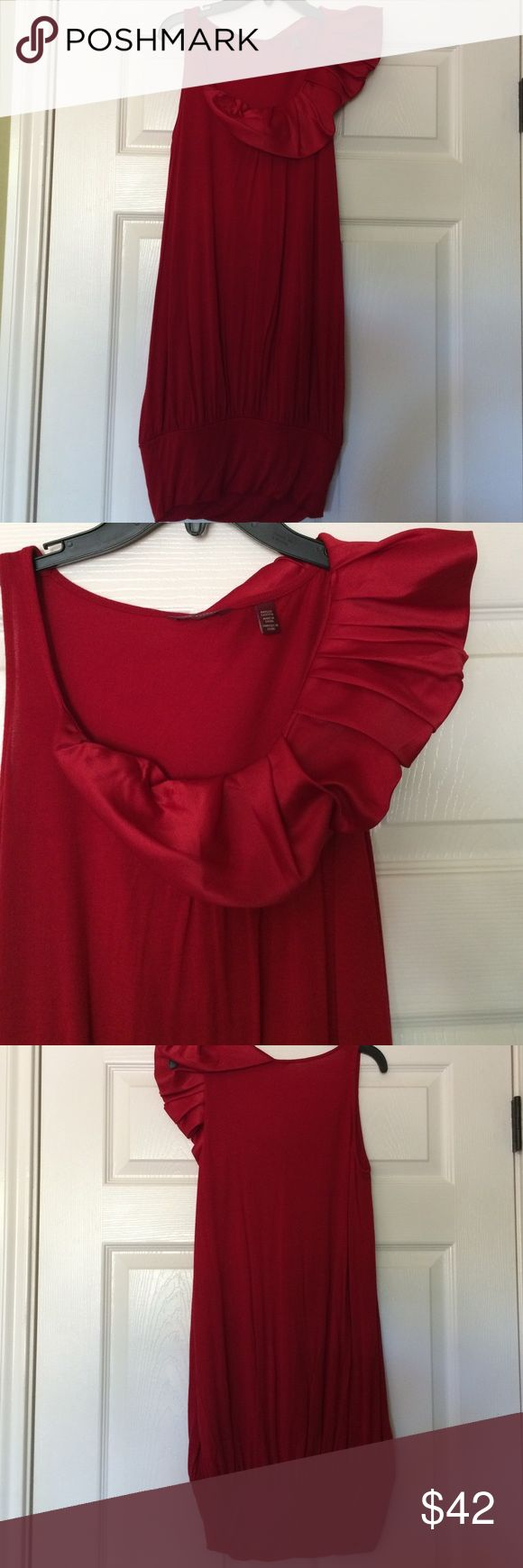 Ted Baker red ruffle dress A lovely and flattering soft jersey dress in crimson. Satin ruffle at shoulder; draped effect to dress with wide fitted hemline. 100% viscose. Machine washable. Ted Baker size 2, which converts to a USA size 6. Ted Baker Dresses
