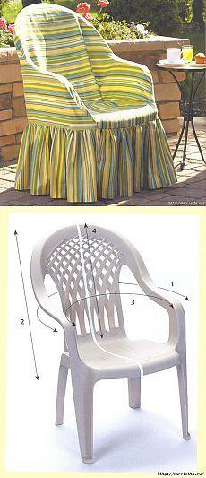 Caso de coser para la silla de plástico.  Gran idea!