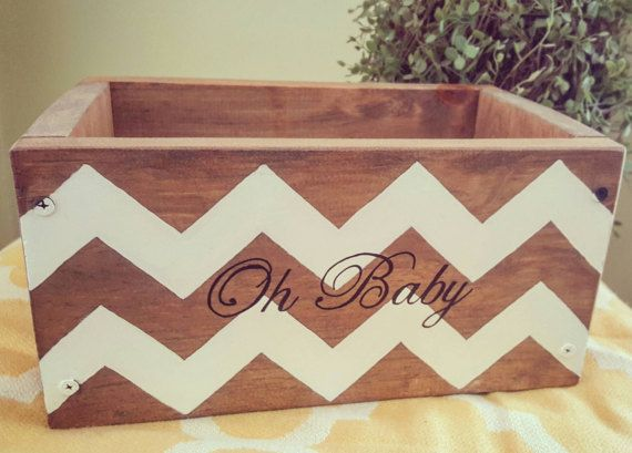 Oh Baby newborn gift Wood nursery decor Chevron baby room