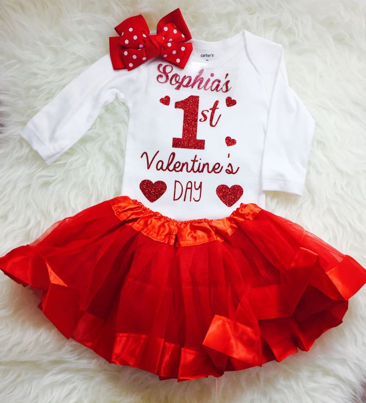 Items Similar To Personalized Babyu0027s Valentineu0027s Day Tutu Outfit Baby Girl  First Valentineu0027s Day Outfit Matching Headband On Etsy