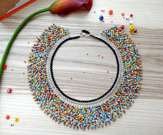 Multicolor  Mexican Necklace Choker  Peyote beaded