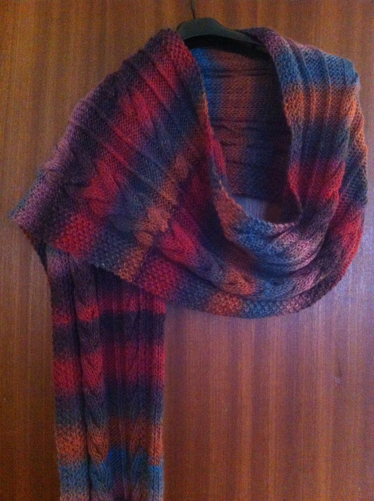 Blue faced Leicester cabled stole