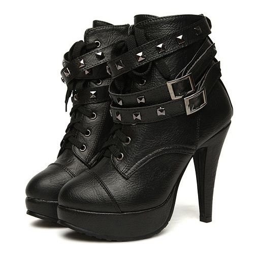 I found 'Casual and Stylish Style Buckle and Studs Embellished High-Heeled Boots' on Wish, check it out!
