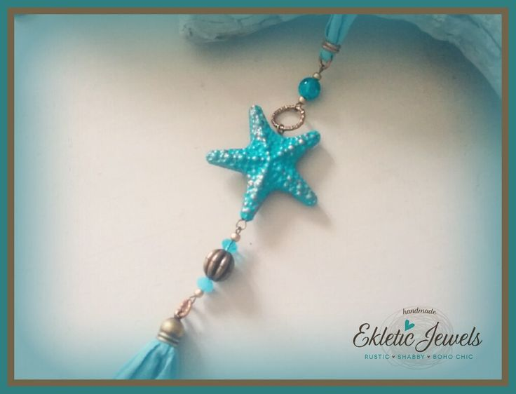 Summertime boho necklace  Starfish and tassels - aqua and bronze
