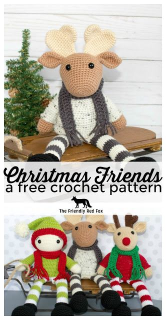 Free Crochet Moose and Crochet Reindeer Pattern. Perfect for decoration or play! This Christmas crochet project is designed to sit on a shelf with those legs dangling off!