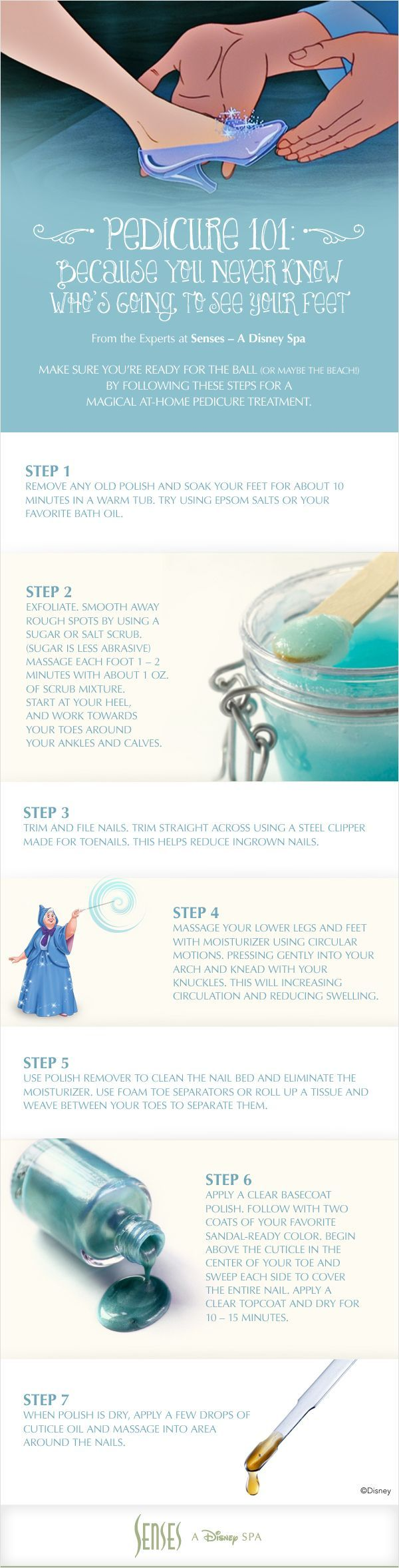 Pedicure 101: Because you never know whos going to see your feet! (Especially if you tend to wear glass slippers.) Follow these Disney pedicure DIY steps for a magical at-home treatment, fit for a princess. Brought to you by Senses A Disney Spa.