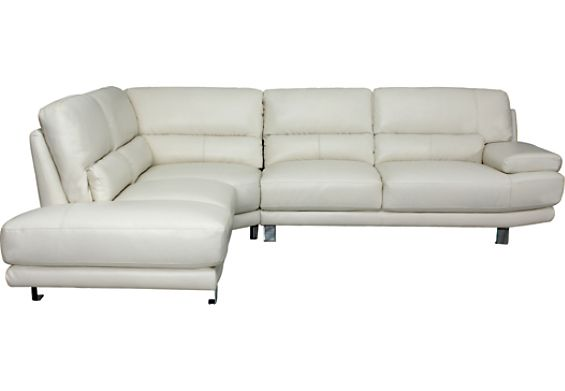 Nico Genuine Leather 3-Piece Sectional u2013 Ivory  (NICO-SEC) | The Brick | Home | Pinterest | Accent pieces Mattress and Bricks  sc 1 st  Pinterest : the brick sectionals - Sectionals, Sofas & Couches