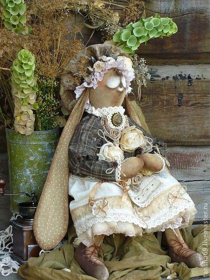 Сухоцветы.Зая. - тильда,зайка,винтажный стиль,текстильная игрушка,ароматизированная игрушка