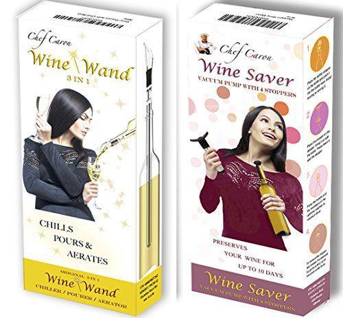 Ensemble Cadeau Kit à Vin–Économiseur de Vin et Baguetteà Vin du Chef Caron –Kit de Préservateur de Vin–Pompe à Vide avec 4Bouchons…