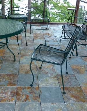 Slate Patio Tiles Can Be Laid Right Over Wooden Decking Or Concrete Diy Pinterest And