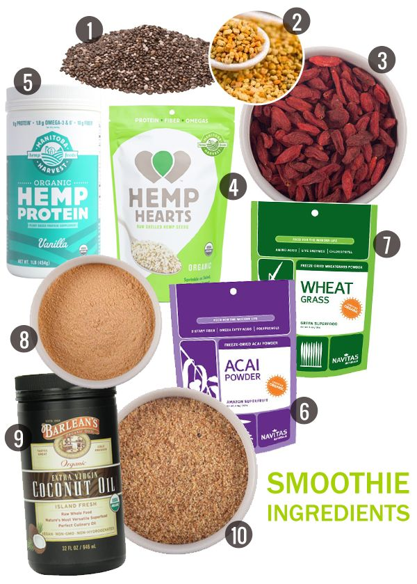 1. Organic Chia Seeds // 2. Bee Pollen Granules // 3. Organic Goji Berries // 4. Shelled Hemp Hearts // 5. Vanilla Hemp Protein Powder // 6. Acai Powder // 7. Wheat Grass Powder // 8. Raw Maca Powder // 9. Organic Extra Virgin Coconut Oil // 10. Sprouted Flax Powder
