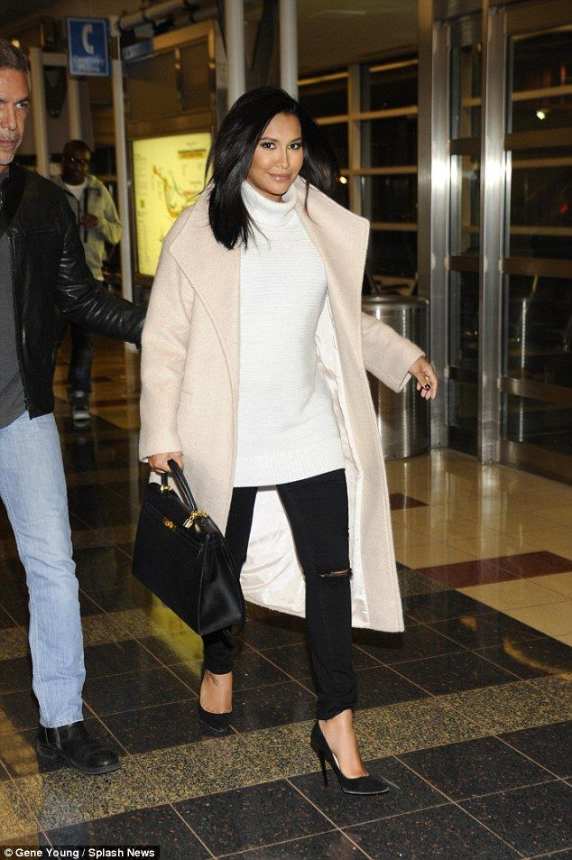 Glowing: Pregnant Naya Rivera cut a radiant and elegant figure as she arrived at Reagan Na...