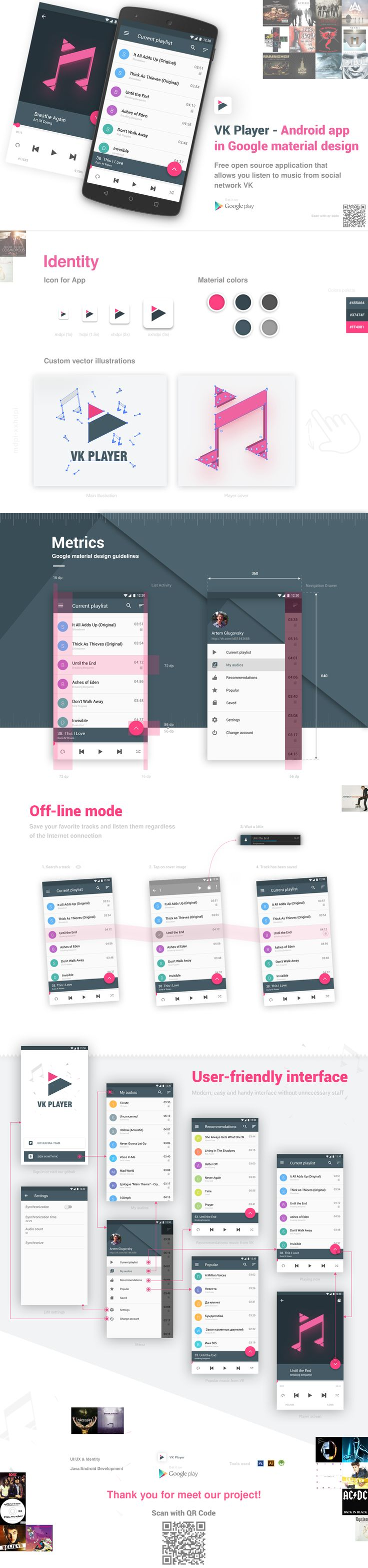 VKPlayer - Android App in Google Material design on Behance