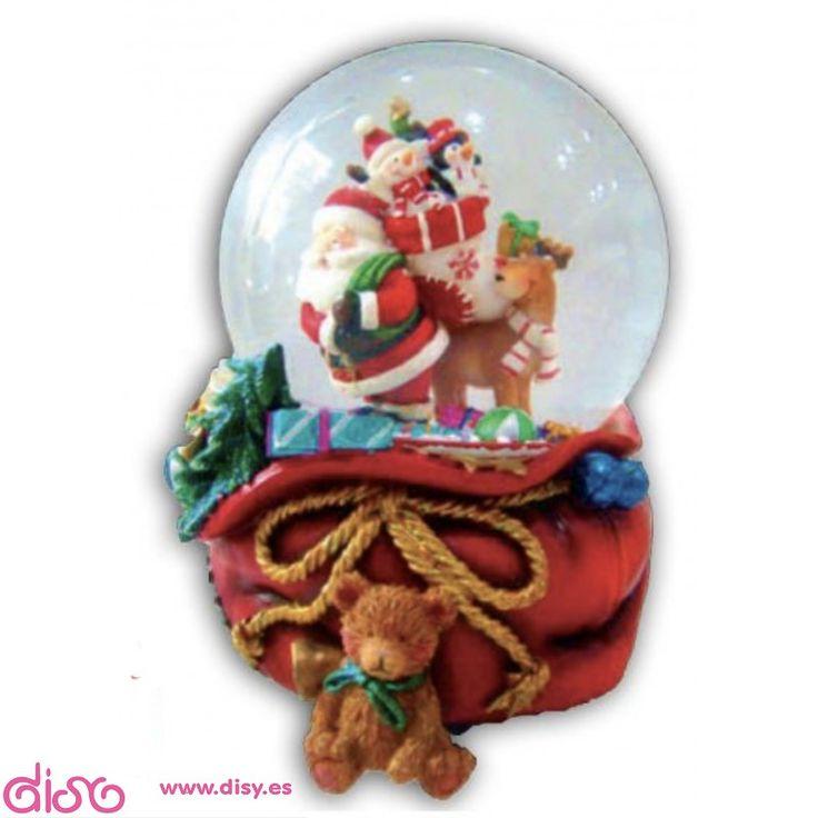 #bolasdenievemusicales #bolasdeaguamusicales Bolas de nieve musicales - Bola de Navidad Papá Nöel con Saco - 10cm www.disy.es