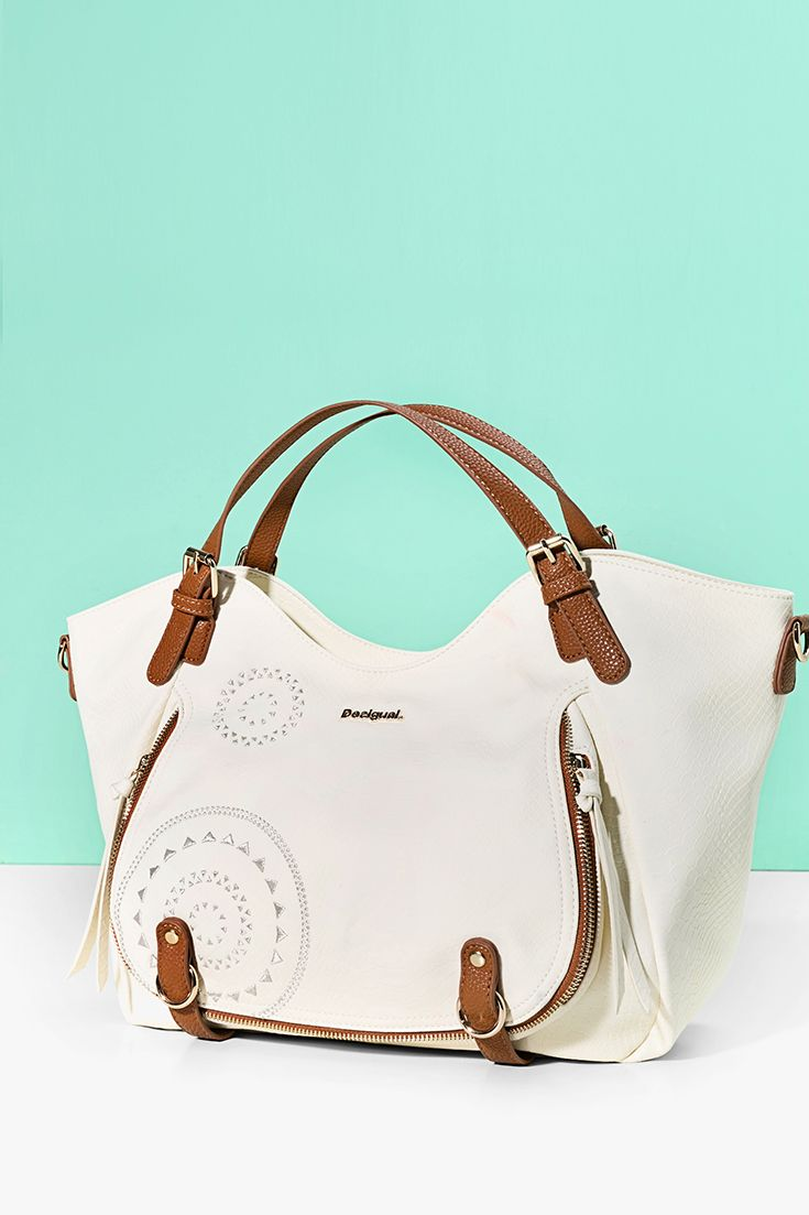 Desigual maxi handbag with handles and a detachable strap. Discover Desigual Spring - Summer 2017 collection!