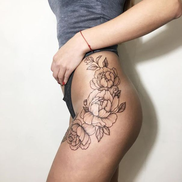 23 Trendy Hip Tattoos That Are Actually Badass: Peony Flower Tattoo Designs