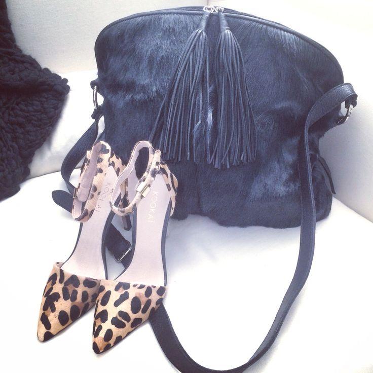 In handbag heaven... #black #leather #springbok #kookai #leopard #print #heels #shoes #amazing #love #handbag #bag #girl #woman #perfect #southafrica #import #travel #wanderlust www.charliemac.com.au