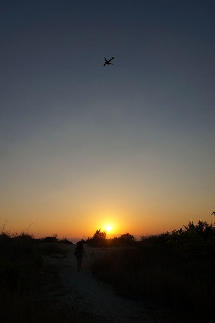#Sunset and an #Airplane in #Ixia #Bay #Aegean #Sea #Rhodes #Island #Greece