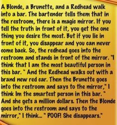 dumb blonde jokes - Google Search Answer: Blondes can't think?