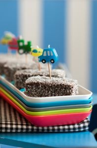 Cars, boats, planes and trains party: Lamingtons are a firm favourite at all parties! Kids will love this treat!